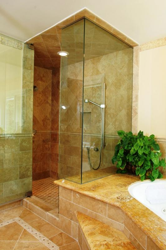 Transitional Master Bathroom in Sun Valley - glass enclosed shower ...