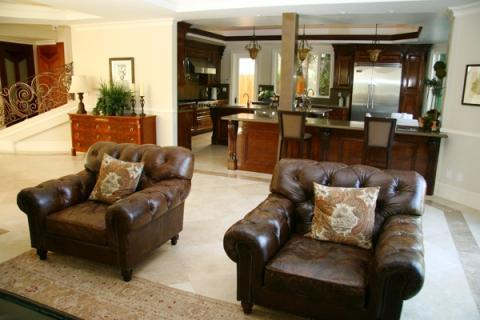 Traditional Family Room with dark wood breakfast bar stools