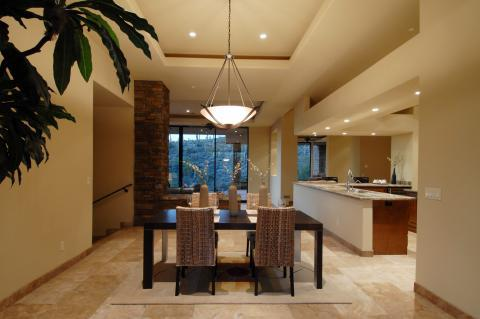 Contemporary Dining Room with kitchen open to dining room