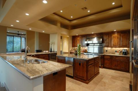 Traditional Kitchen with recessed lights in ceiling