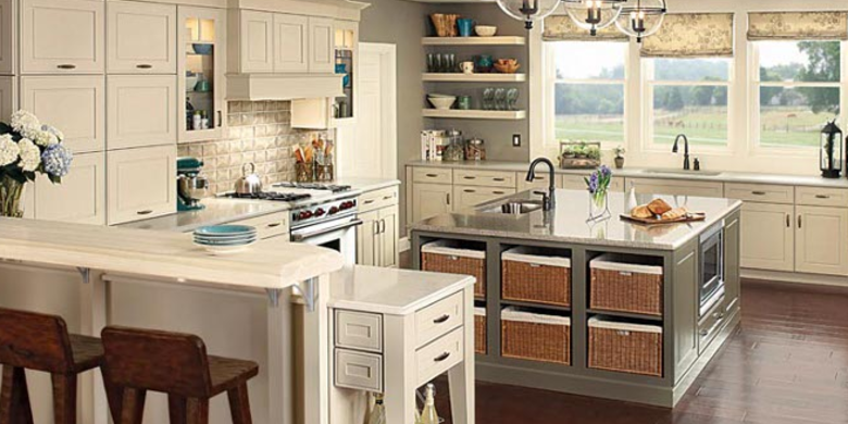 Transitional Kitchen with mission style cabinet door