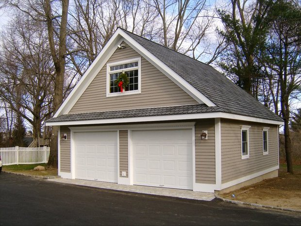 Cottage garage in branford beige siding two car garage for Garage additions with living space above