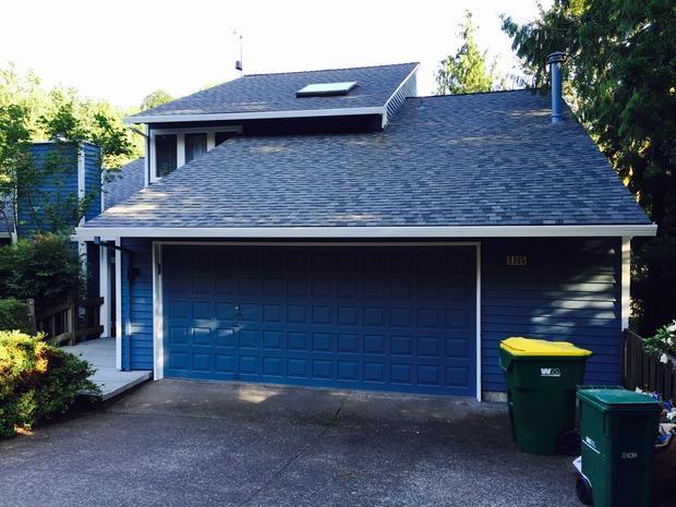 Contemporary Garage In Fairview White Trim Blue