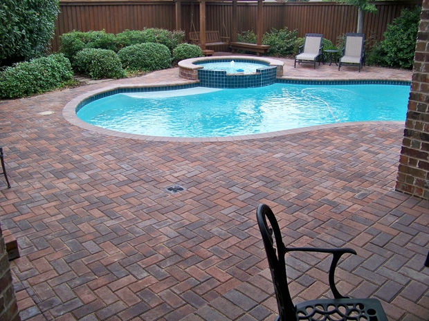 Casual Living Pools : Casual / Comfortable Pool in PLANO - pool, red stone paver ...