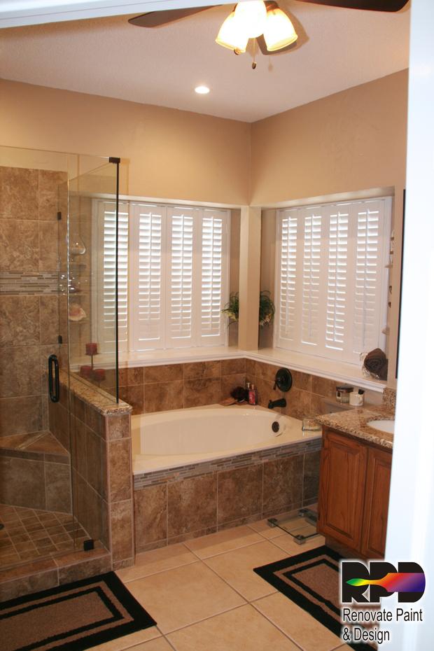 Tuscan Bathroom In San Antonio Granite Counter Top Spa Tub By Renovate Paint And Design