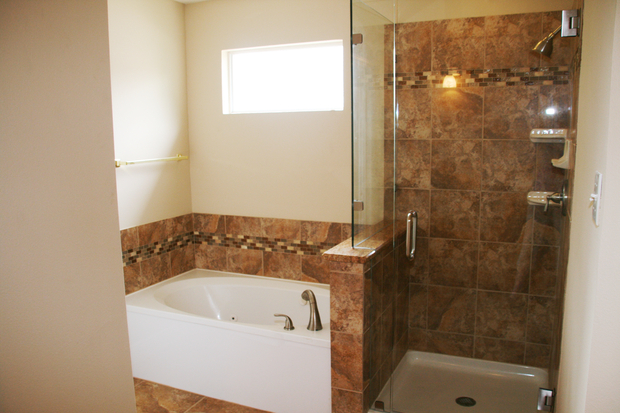 Traditional Bathroom In San Antonio Brown Wall Tile Off White Walls By Renovate Paint And
