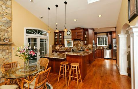Traditional Dining Room with large eat in kitchen
