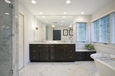 Eclectic Bathroom with tile shower surround