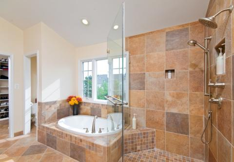 Traditional Master Bathroom with stainless steel plumbing fixtures