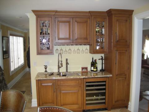 Traditional Bar with built in wine glass storage