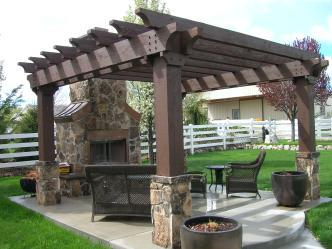 Outdoor Pergola With Fireplace Pictures And Photos