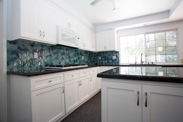 Contemporary kitchen in canoga park chevron pattern tile for Home decor 91304