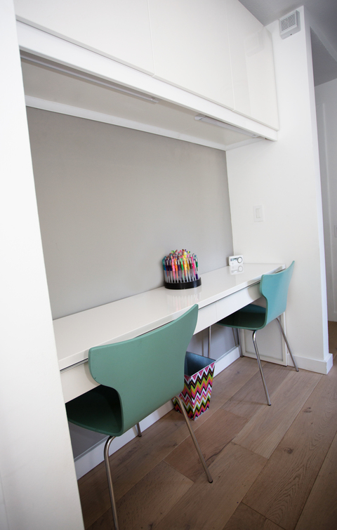 Modern Kids Room with white quartz countertop
