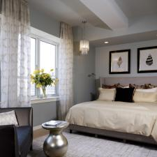 Contemporary Bedroom with upholstered wing back head board