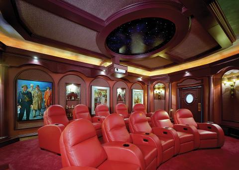 Traditional Home Theater with round detail ceiling with skylight look