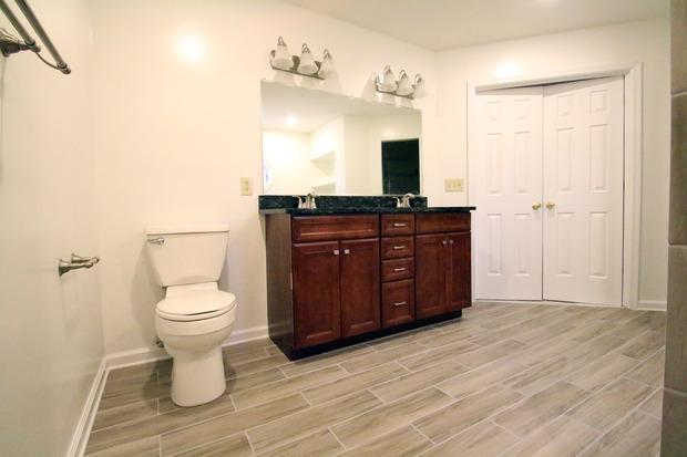 Contemporary bathroom in fredericksburg frameless mirror for Bathroom remodeling fredericksburg va