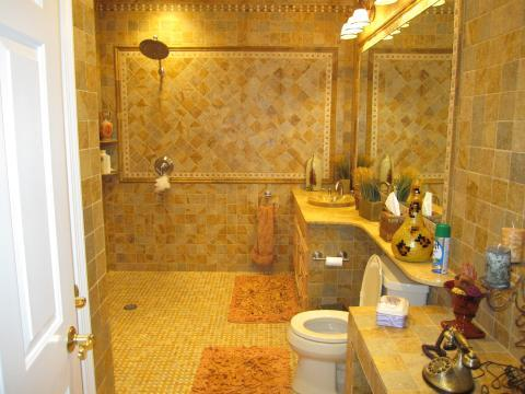Eclectic Bathroom with entire bathroom covered in tile