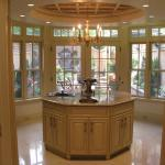 Traditional Kitchen with white distressed kitchen island cabinets