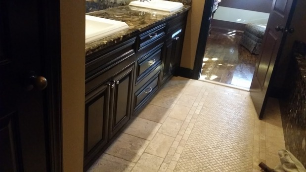 Traditional Bathroom In Atlanta Dark Wood Cabinets Stone Counter Top By Ericks Painting