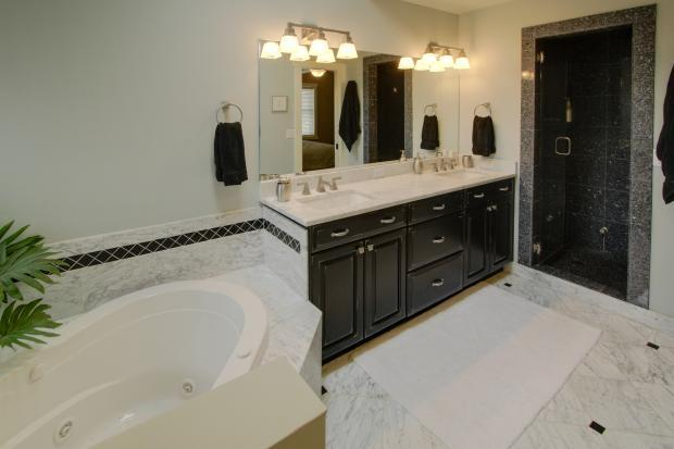 traditional master bathroom grey traditional master bathroom with white marble tile flooring black accent in denver bathroom cabinets