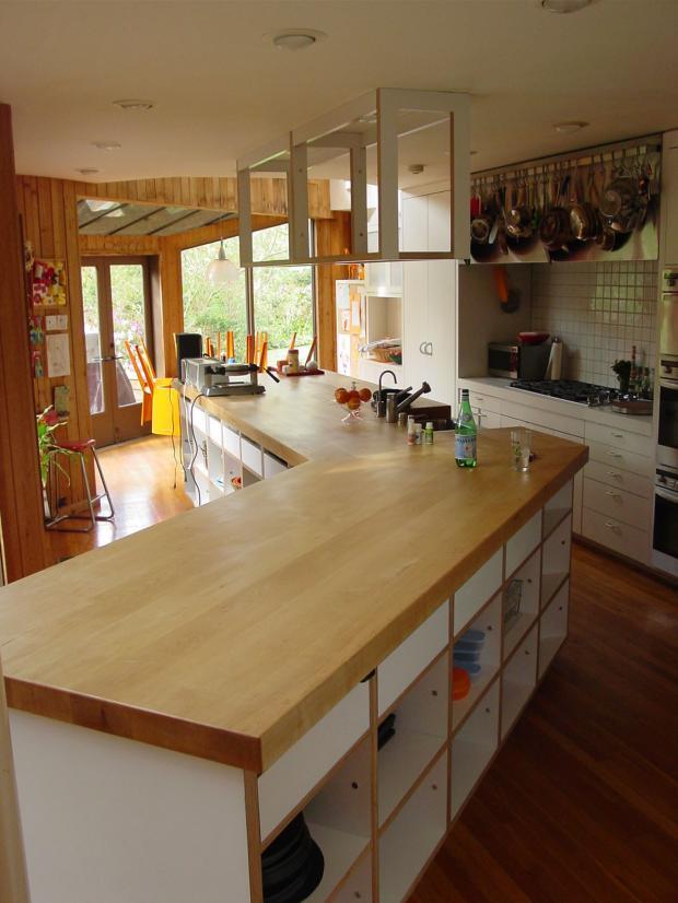 Wood countertop in modern kitchen