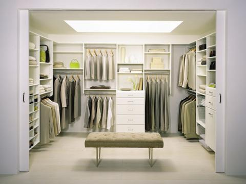 Modern Closet with white custom storage units