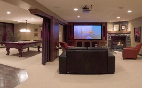 Transitional Home Theater with floor to ceiling curtains