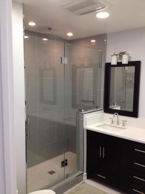 Contemporary Bathroom with stainless steel cabinet hardware