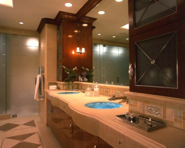 Contemporary Master Bathroom with rich mahogany wood polished finish