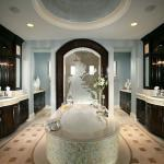 Art Deco Bathroom with large stand alone tub in center of bathroom