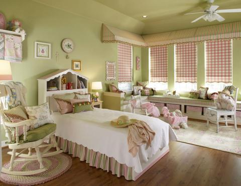 Transitional Kids Room with built-in window bench with storage
