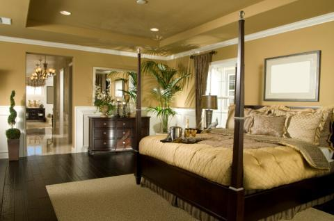 Transitional Bedroom with hand scraped flooring