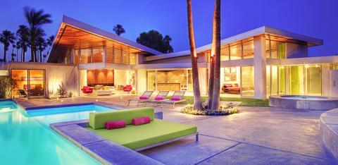 Contemporary Patio with green and pink cushions