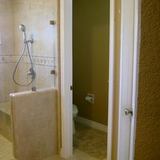 Contemporary Master Bathroom with built in shower bench