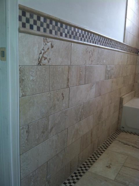 Traditional Bathroom with cream tan wall tile
