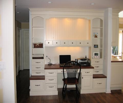 Transitional Home Office with under cabinet lighting
