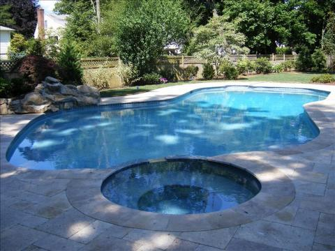 Traditional Pool with rock and landscape n ext to the pool