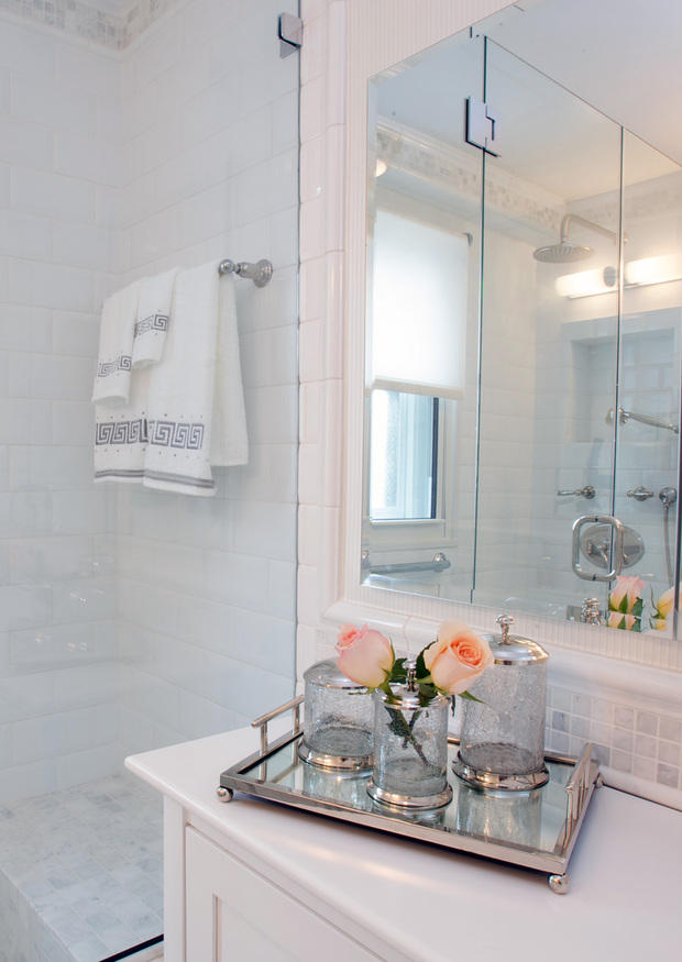Perfect Transitional Bathroom With Silver Tray With Glass Canisters