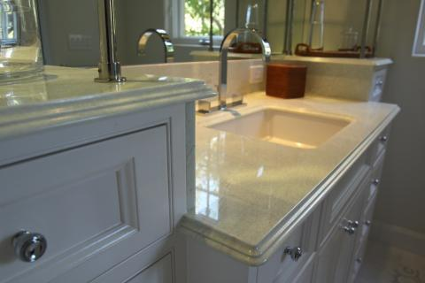 Transitional Master Bathroom with white granite counters