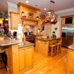 Arts & Crafts Kitchen with stools under kitchen island