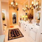 Traditional Bathroom with wrought iron wall hung sconce