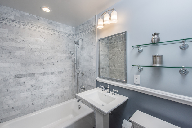 contemporary bathroom in staten island marble tile walls light gray