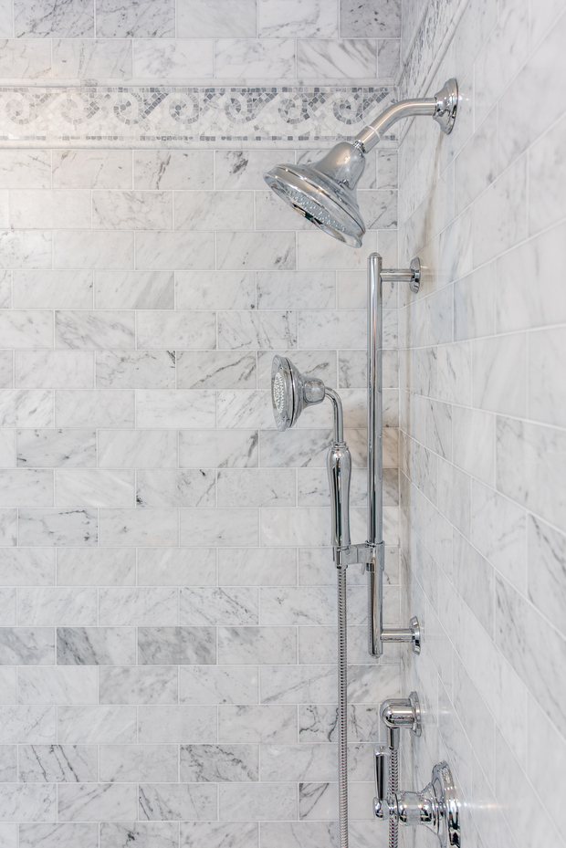 Contemporary bathroom in staten island marble tile for Bathroom remodel staten island