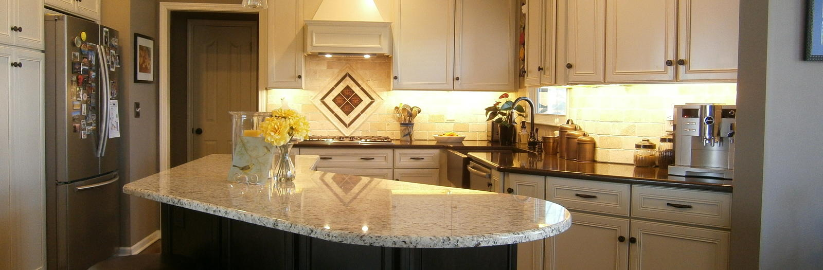 Transitional Kitchen with white recessed panel cabinetry