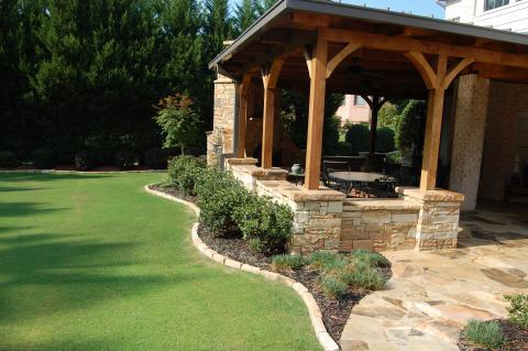Traditional Patio with wooden support beams