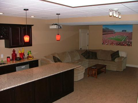 Traditional Basement with built-in wine bottle rack