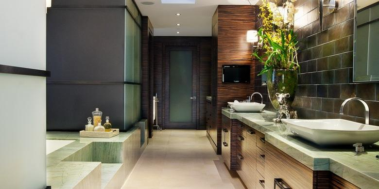 Contemporary Bathroom with stone tile tub surround