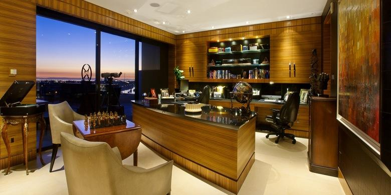 Contemporary Home Office with leather executive office chair on wheels