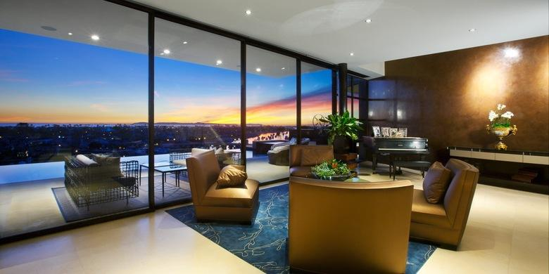 Contemporary Living Room with floor to ceiling window