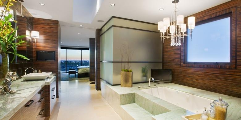 Contemporary Bathroom with dark wood accent wall covering